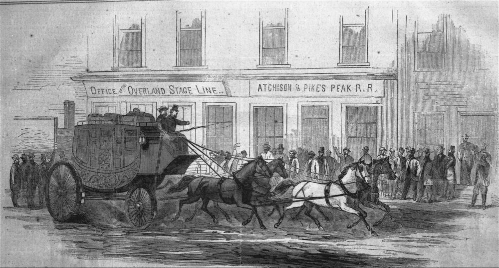 A drawing of a Butterfield Overland mail coach copied from Harper's Weekly, January 27, 1866.
