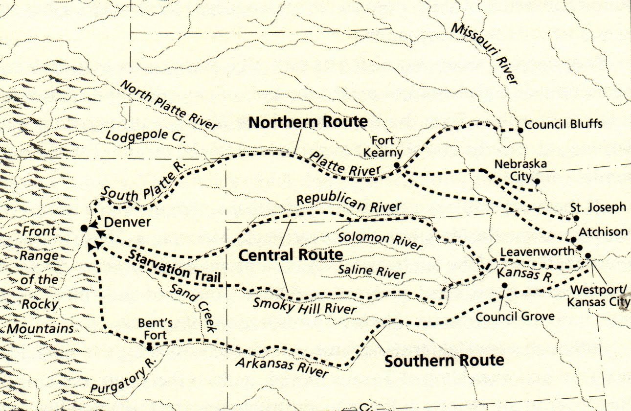 Map showing the routes used to get to the Pikes Peak gold fields through Kansas.